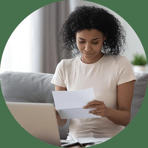 Woman paying loans